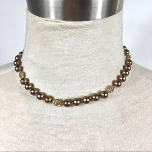"VTG MONET STRAND NECKLACE BRONZE PEARLS 16""CHOKER"